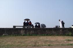 Cricket-Zuschauer auf der Mauer